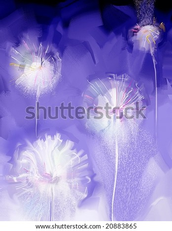 pretty stylized dandelion illustration - stock photo