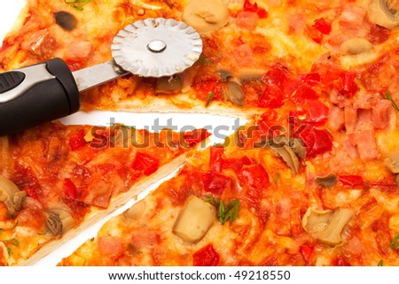 pretty tasty pizza on a white background