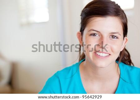 pretty teen girl closeup portrait - stock photo