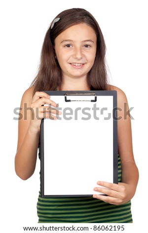 Pretty teen girl with clipboard isolated over white background - stock photo