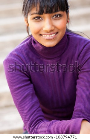 pretty teen indian girl closeup portrait - stock photo