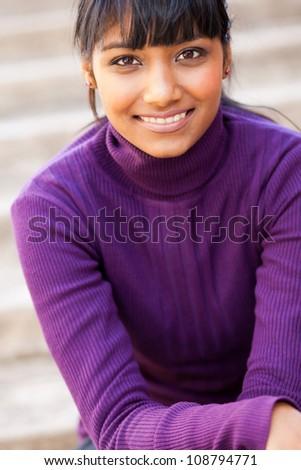 pretty teen indian girl closeup portrait - stock photo