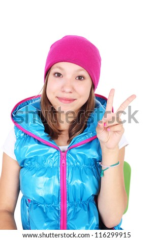 pretty teenage smiling girl wearing vest closeup