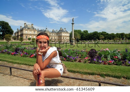 Pretty Teenager at Luxembourg Gardens in Paris, France - stock photo