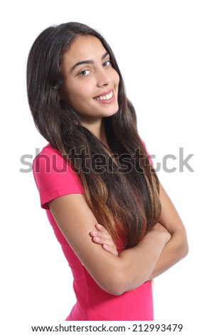 Pretty teenager model posing standing with folded arms isolated on a white background