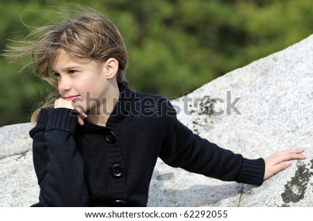 Pretty teenager outdoor portrait - stock photo