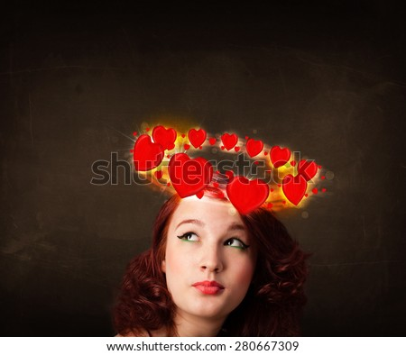 Pretty teenager with heart illustrations circleing around her head