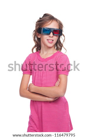 pretty ten year girl in stereo glasses. isolated on white background - stock photo