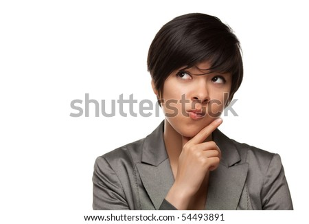 Pretty Thinking Multiethnic Young Adult with Eyes Up and Over Isolated on a White Background. - stock photo