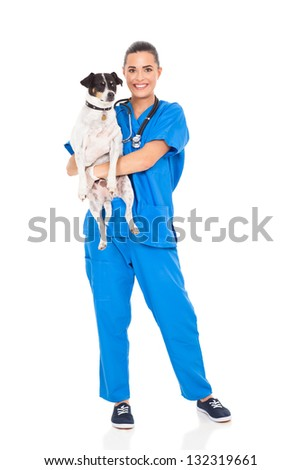 pretty vet doctor holding pet dog isolated on white - stock photo