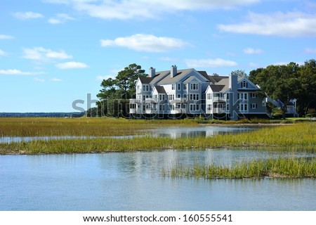 pretty view a marsh - stock photo