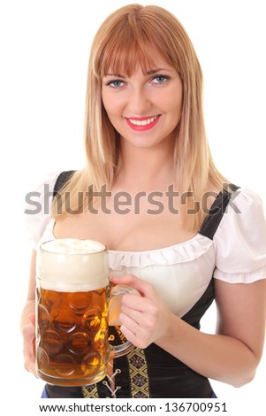 pretty waitress with beer - stock photo