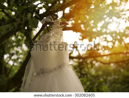 Pretty wedding dress hanging on a tree - stock photo