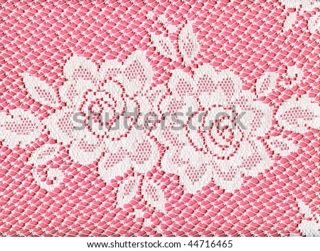 Pretty White Lace Roses On Pink - stock photo