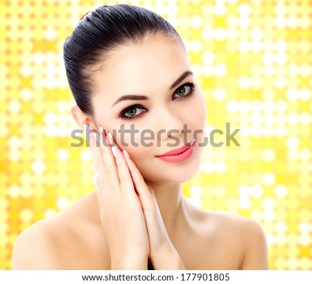 Pretty woman against an abstract background  - stock photo