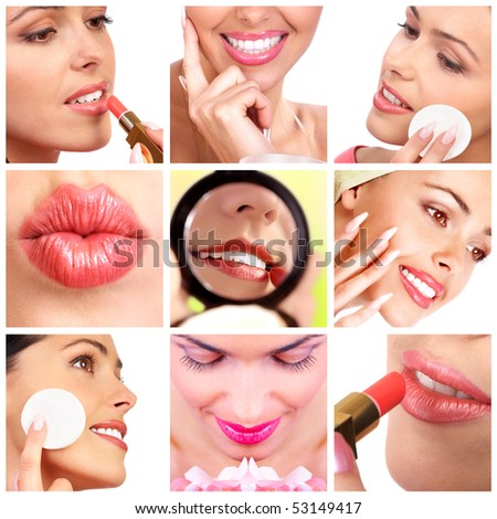 Pretty woman applying make up. Close up - stock photo