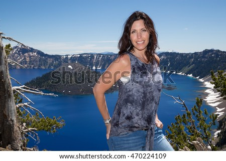 Pretty woman at Crater Lake Oregon