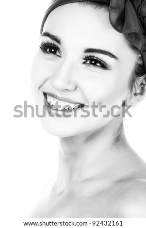 Pretty woman. Black and white photography.  Isolated on white.