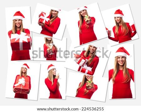 pretty woman christmas concept - stock photo