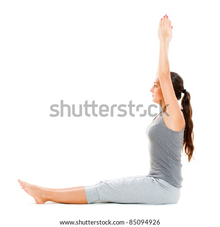 pretty woman doing exercise. isolated on white background - stock photo