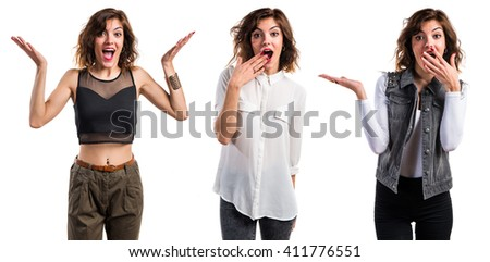 Pretty woman doing surprise gesture