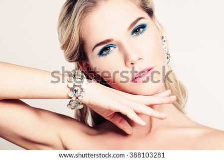 Pretty Woman Fashion Model with Makeup and Bracelet - stock photo