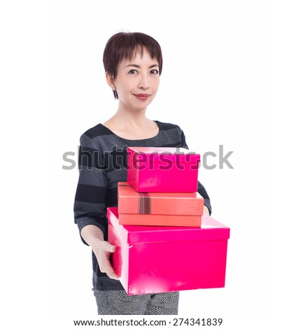Pretty woman hands a red gift boxes, - stock photo
