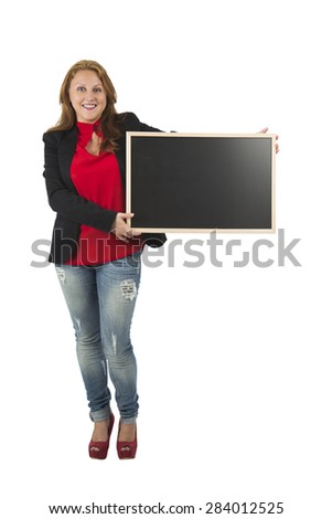 Pretty woman holding a blackboards against a white background - stock photo