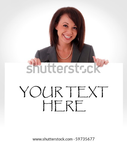 Pretty Woman holding a blank sign (You add text) - stock photo