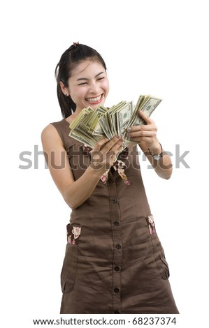 pretty woman holding lots of 100 dollar bills in her hand and almost getting crazy, isolated on white background - stock photo