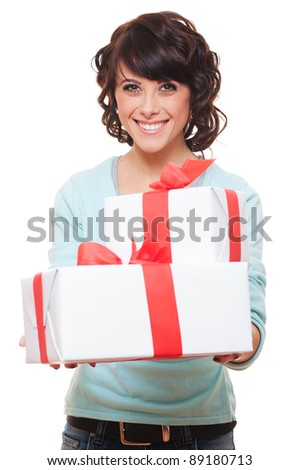 pretty woman holding two gift boxes. isolated on white background
