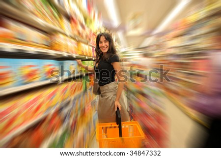 pretty woman in a supermarket