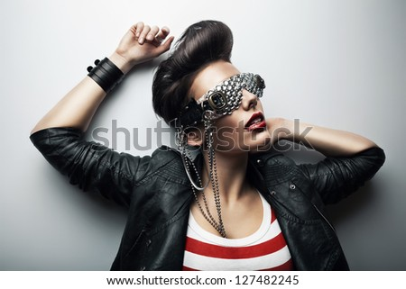 pretty woman in black leather jacket - stock photo