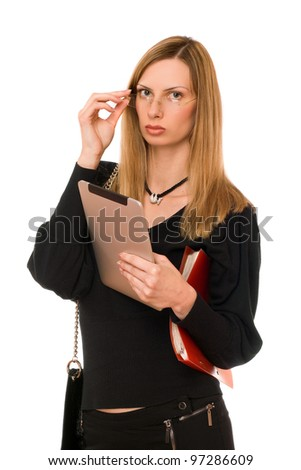 Pretty woman in black with the pda - stock photo