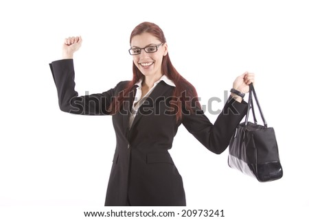 Pretty woman in business attire waving her arms in celebration