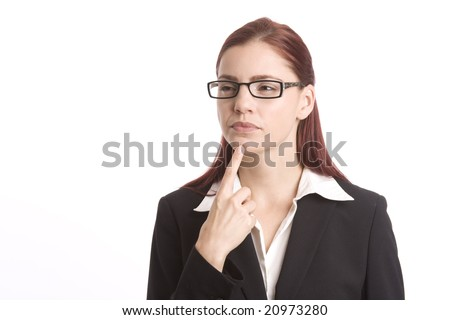 Pretty woman in business suit pondering a question - stock photo
