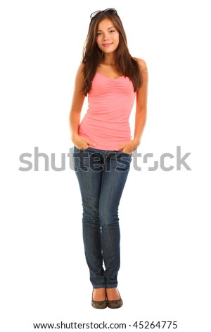 Pretty woman in full length isolated on white background. Mixed race asian / caucasian young woman.