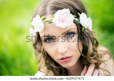 pretty woman in nature / Woman in nature - stock photo
