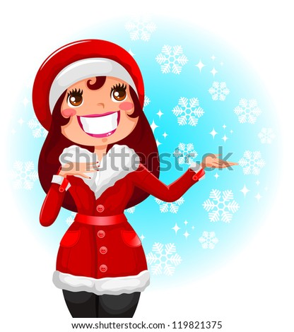 pretty woman in red coat on snowy background (vector available in my portfolio)