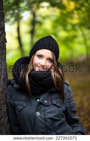 pretty woman in the autumn forest / Woman