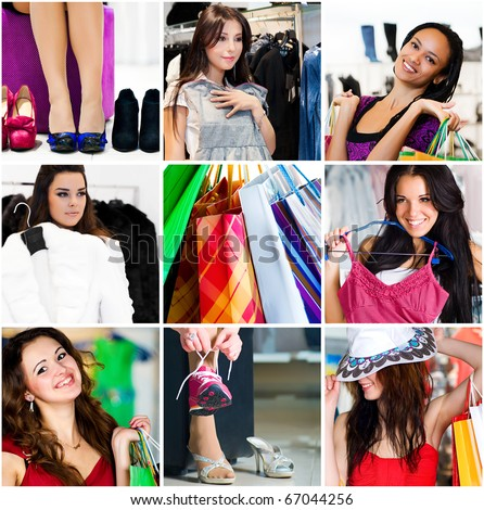 Pretty woman in the shop. Collage - stock photo