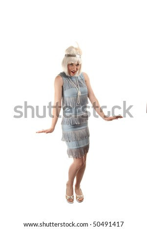 Pretty woman in vinatge 1920s flapper dress - stock photo