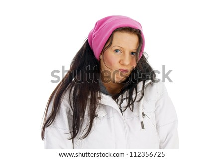 pretty woman in winter clothes / winter time