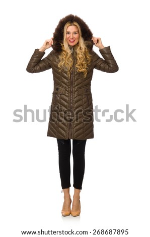 Pretty woman in winter clothing isolated on white - stock photo