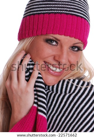 Pretty Woman in Winter Scarf and Beanie - stock photo