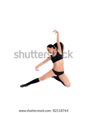 Pretty woman jumping in nice pose isolated on white - stock photo