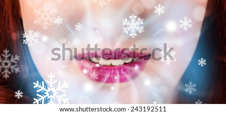Pretty woman mouth blowing cold breeze close up - stock photo