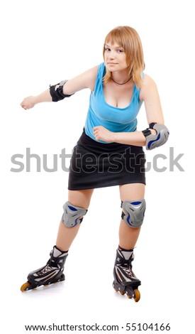 pretty woman on roller skates - stock photo