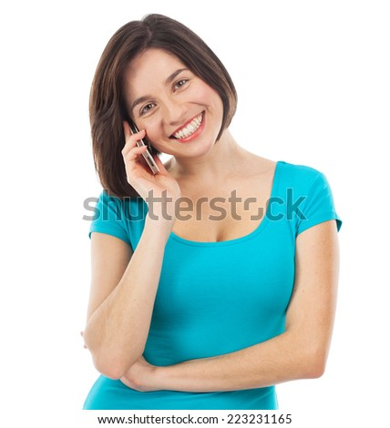 Pretty woman on the phone, isolated on white - stock photo