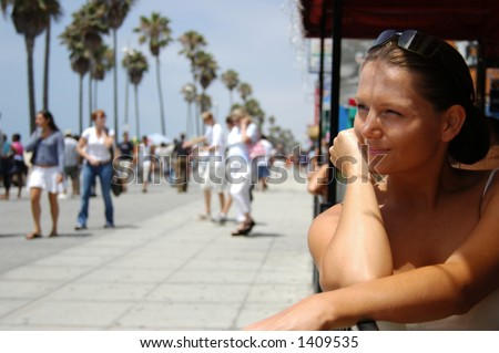 Pretty woman on Venice Beach Los Angeles - stock photo